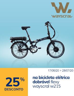 25% desconto na bicicleta elétrica dobrável flexy wayscral w215