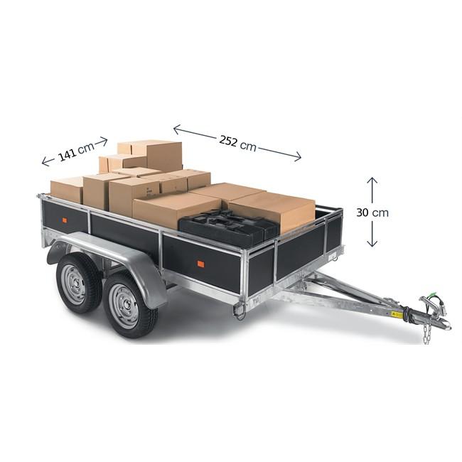 remorque double essieux 500kg pas cher 123 remorque. Black Bedroom Furniture Sets. Home Design Ideas